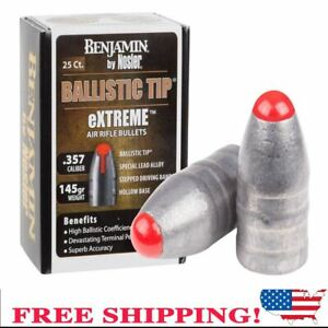 Benjamin Extreme 357 Cal 145 Grain Nosler Ballistic Tip Air Rifle Bullet 25ct BB