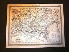 Carta geografica o mappa Marmocchi 1876 Nord Italia Lombardia Venezia Tridentina