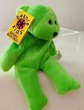 Vintage Skansen Beanie Kids, Pop The Fluoro Green Bear, 1998, Toy #23