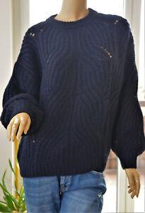 TOM TAILOR sportlicher Pullover mit Ajourmuster dkl.blau NENA & LARISSA Gr.S Neu