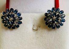 925 Silver Cluster Flower Two Round Earring With Natural Oval Sapphire 7.68GM