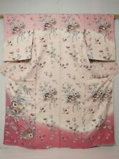 3219N04z930 Japanese Kimono Silk TSUKESAGE Light pink Flowers