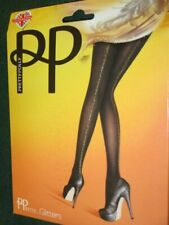 NEW PRETTY POLLY UK glitters black with glittered back seam TIGHTS os