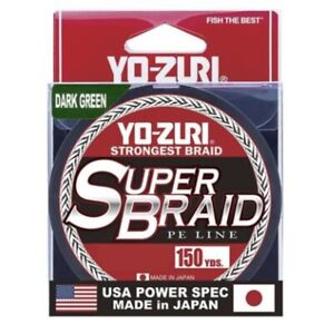 Yo-Zuri Super Braid Fishing Line~Yellow, Dark Green~150yds~FREE Shipping