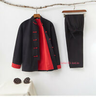 Mens Chinese Cotton Tang Suit Martial Arts Uniform Sets Kung Fu Taichi Costume
