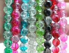 100pcs  mix color Crackle Glass Loose Round Charms Spacer Beads 8MM