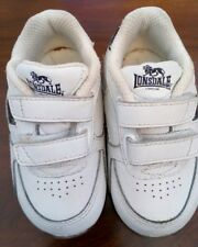 Baby Boy or Girl's Leather Trainers, White with Navy Trim,  size 3 by Lonsdale