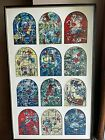 """MCM 1960's Chagall Jerusalem Windows 12 Tribes of Israel Matted &Framed 32""""x20"""""""