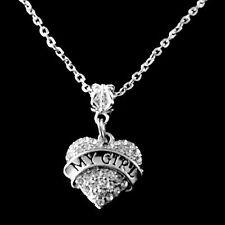 My girl charm necklace My girl Crystal Heart necklace Girlfriend necklace gift