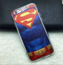 for iPhone 6 / 6S -SUPERMAN CHEST BLUE RED Hard TPU Rubber Gummy Skin Case Cover
