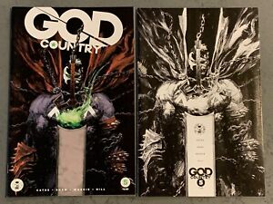 GOD COUNTRY #5; SPAWN Variants - lot of 2 regular & B/W Donny Cates Crossover NM