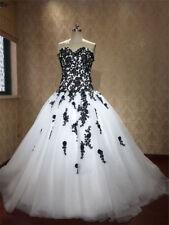Neue Schwarz Weiß Spitze A-Linie Brautkleid Herzenform Hochzeitskleid Abendkleid