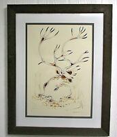 EDDY COBINESS Original Art CARIBOU Watercolour Matted Rustic Wood Frame 47/1 N5
