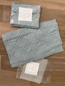 NEW 2 RESTORATION HARDWARE Belgian LINEN Quilted Lumbar Pillow Shams Silver Sage