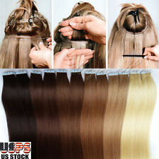 Womens straight long tape in hair extensions ebay long seamless tape in remy real 100 human hair extensions skin weft big sale us pmusecretfo Choice Image