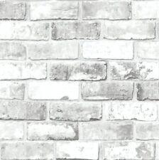 White Shimmer Brick Pattern Realistic Faux Effect Mural Debona Wallpaper 6751