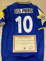 MAGLIA DEL PIERO AUTOGRAFATA JUVENTUS FINALE CHAMPIONS LEAGUE 1996 + COA