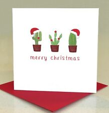 Cactus Santa Hat Christmas Cards Pack of 6 (Small)