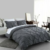 Charcoal Grey Pintuck Duvet Cover 100% Egyptian Cotton Bedding Sets Double King