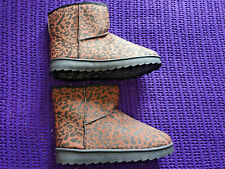 Brand new Leopard Print fabric upper ankle boots size 7 UK fleece inner lining