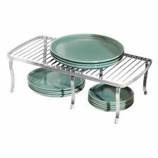 mDesign Metal Expandable Kitchen Pantry Storage Shelf, 2 Pieces - Chrome