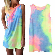 Womens Tie Dye Sleeveless Tank Top Vest Summer Holiday Beach Sundress Mini Dress