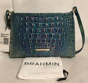 BRAHMIN Melbourne LORELEI Small Leather Shoulder Bag DRAGON Green Blue Gold NWT