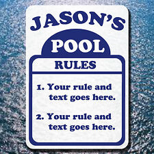 """CUSTOM YOUR TEXT HERE POOL RULES SIGN ALUMINUM 10"""" BY 14"""" FILTER CLEANER PUMP"""