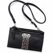 NWT Brighton CONTEMPO Organizer Wallet Black Leather Cross Body MSRP $175