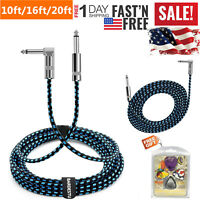 "10ft/16ft/20ft NOISELESS Electric Guitar Bass Cable Pedal AMP Cord 1/4"" KEYBOARD"