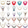 Crystal Pendant Choker Chunky Statement Chain Bib Necklace Women Fashion Jewelry