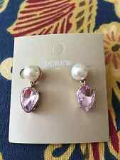 J Crew Pearl Pink Crystal Drop Earring Great for Special Occasion