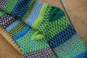 Recycled Cotton Socks Patterned Mismatched Knee Length Waterlily Green Blue