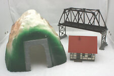 Mixed Lot Vntg Toy Railroad Train Tunnel, Truss Bridge Bachmann, Faller House