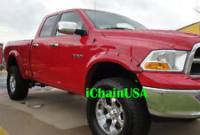 2009-2014 DODGE RAM 1500 RIVET BOLT POCKET STYLE ABS FENDER FLARES -PAINTABLE