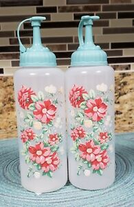 PIONEER WOMAN VINTAGE FLORAL CONDIMENT DISPENSERS SET OF 2 NEW