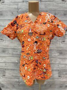 Cherokee Women's Halloween Print Short Sleeve Orange Scrub Stretchy Top Size M