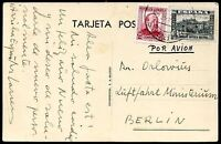 SPAIN TO GERMANY Old Air Mail Postcard VF