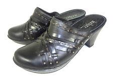 Clarks Indigo Mules Clogs Shoes Black Leather Womens Size 6.5 M