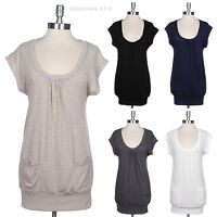 Women's Scoop Neck Short Sleeve Ruched Long Tunic Sweater KNIT Top Pockets S M L