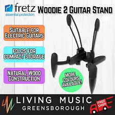 NEW Fretz 'Woodie 2' Wooden Folding Electric Guitar Stand Black FREE SHIP