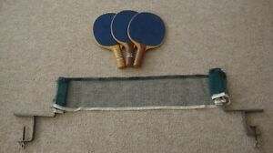 Vintage Ping Pong Table Net/Clamps and Paddles (3)
