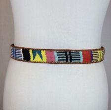 "Vintage 70s Multicolored Rainbow Belt Size 29"" Hippie Native American Gypsy Boho"