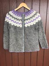 Icelandic hand knit sweater ,Cardigan , Size XS ,New knit , Nordic Sweater Gray