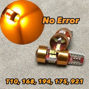 PARKING LIGHT T10 LED AMBER bulb No Canbus Error w5w 168 175 194 27SMD for