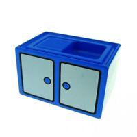 1 x Lego Duplo Möbel Spüle blau weiss mit Schranktüren Aufdruck Waschbecken Pupp