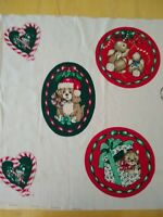 Uncut Vintage Christmas applique panel-Hallmark//Wamsutta 9 appliques