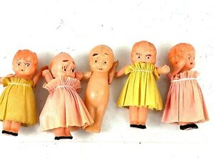 lot of 5 vintage plastic celluloid strung dolls with articulating arms Japan