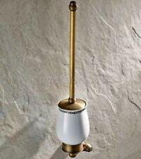 Antique Brass Toilet Brush Set Holder Brush + Ceramic Cup Wall Mount qba422