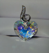 Sterling Silver Crystal Heart Pendant Rainbow Heart Clear Rhinestone Pendant